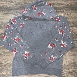 Obey Gray Floral Printed Pullover Hoodie